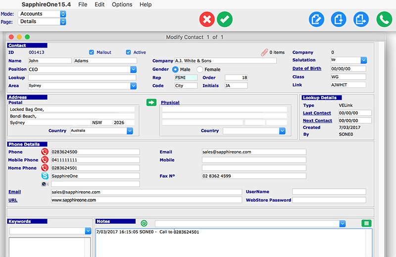 SapphireOne softphone timestamp