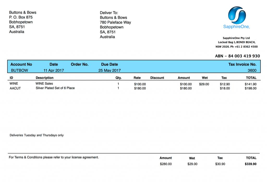 Client invoice printing - WET tax Australia