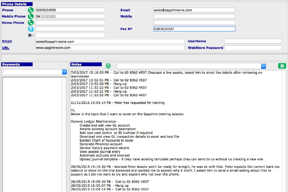 SapphireOne softphone log entry