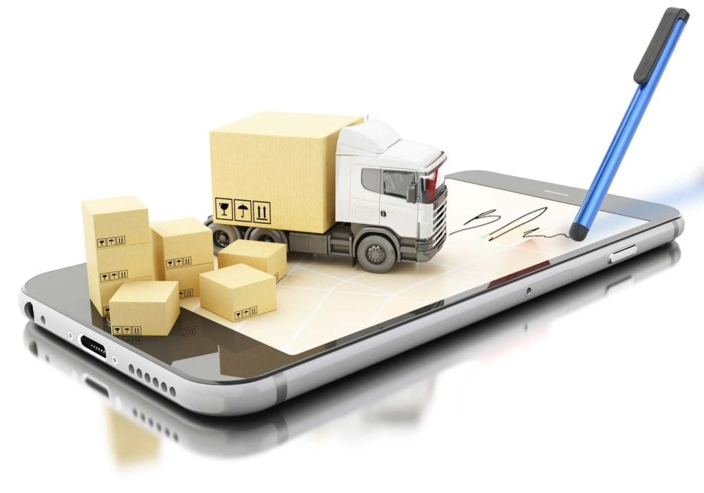Digital signature via pen or fingertip on smartphones or tablets for deliveries and sales