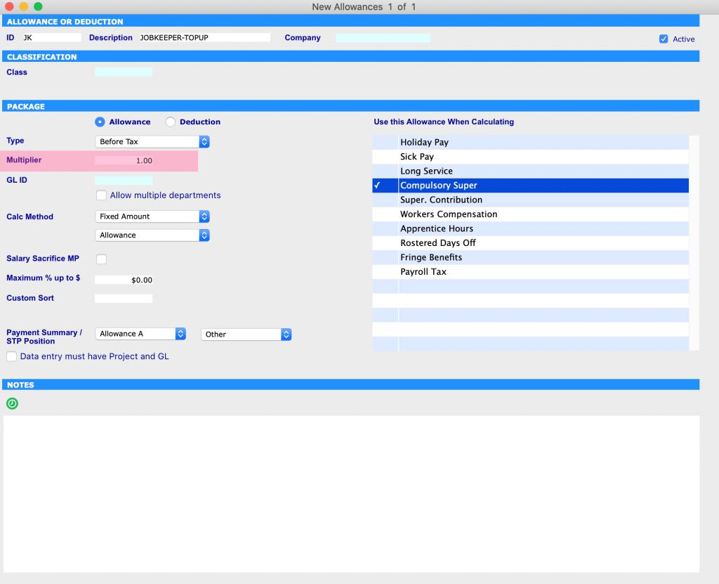 JobKeeper Allowance settings