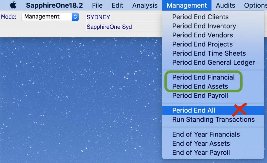 Run month end within the SapphireOne Application