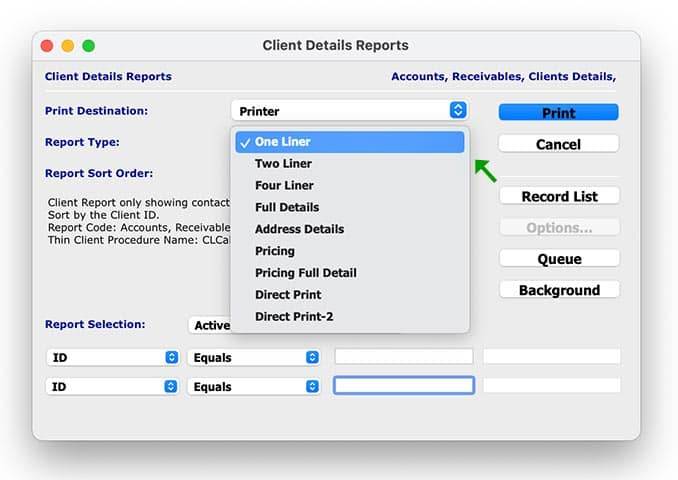 How to select the client details Report