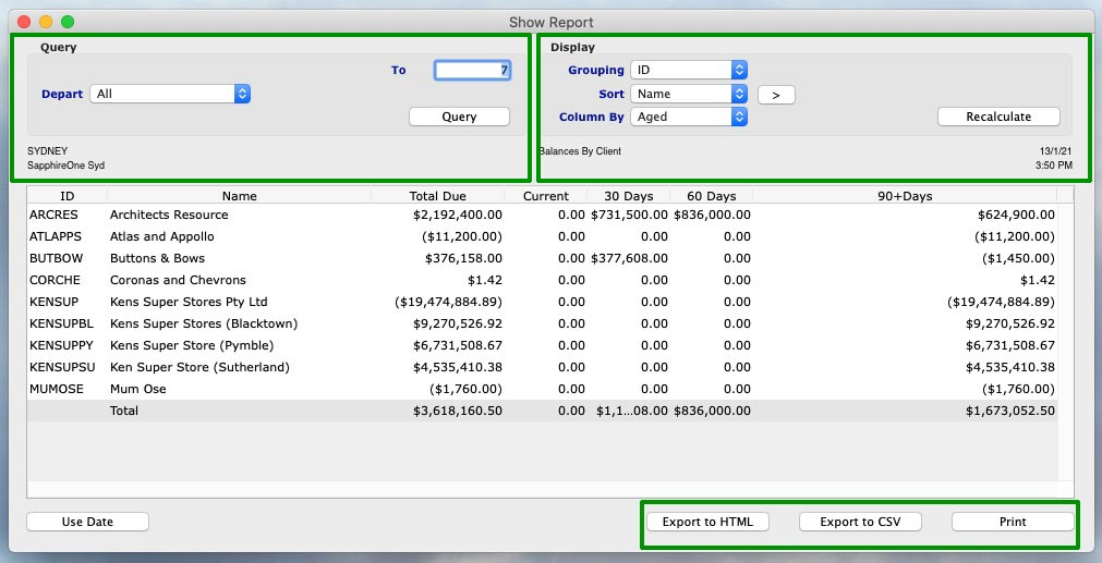 You can choose how you would like to organise your Accounts Receivables Show Reports feature by selecting your preferences in the dropdown 'Query' and 'Display' fields at the top of the reporting window.